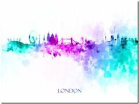 "London City Skyline UK Watercolor Abstract *FRAMED* Canvas Art Print 24x16"""