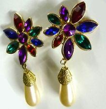 Multi Color Flower Dangle Clip On Back Earrings Costume Gold Plated Vintage