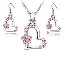 Schmuckset Herz Blume Silber Rosa Blümchen Schmuck Mädchen Damen Ohrringe Kette