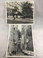 2 Photos 1970s Paris Streets Alleys Buildings Fashion Classic Cars Fiat 8x10