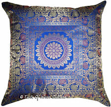 Large Blue 24 Pillow Cushion Cover Mandala Brocade Handmade India Floor Decor