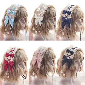 Lolita Mori Girls Headband Bow Ribbon Lace Hair Clips Headwear Wig Accessories