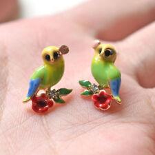 Boucles d'Oreilles Clous Doré Petit Oiseau Chouette Hibou Email Vert Rouge L2