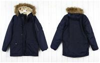 Nuovo Lee Artico Parka Inverno extra Caldo Blu Marine M/L / XL.XXL