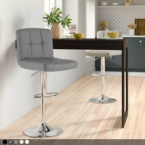 Neo Chrome Metal Base & Gas Lift Faux Leather Kitchen Breakfast Bar Stool Swivel