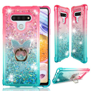 For LG K51 / Reflect Liquid Glitter Bling Clear Protective Case Cover Ring Stand