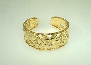 7MM YELLOW GOLD PLATED 925 SILVER PIERCED HAWAIIAN HERITAGE SCROLLS TOE RING
