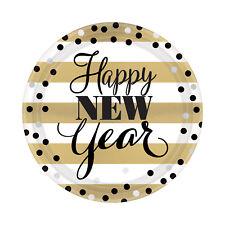 8X Fiesta de Año Nuevo Placas Negras Oro Blanco Fiesta de Año Nuevo Vajilla 18cm