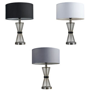 Metal Table Lamp With Wooden Band Hourglass Design Modern Lampshades LED Bulb