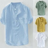 Men's Summer Cotton Linen Blouse Hemp Button Pocket Short Sleeves Shirt Top Plus