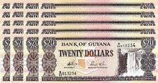 GUYANA 20 DOLLARS 2008 UNC 20 PCS CONSECUTIVE LOT P.30