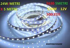 STRISCIA LED 5630 BIANCO FREDDO 300 led WATERPROOF 12V 5MT CON ALIMENTATORE 2A