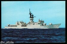 """USS Knox FF-1052 Postcard US Navy Fast Frigate """"first in her class"""" (card2of3)"""