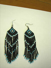 "Seed  Bead Earrings NEW long  blue /black /white   3 1/4 "" handcrafted"
