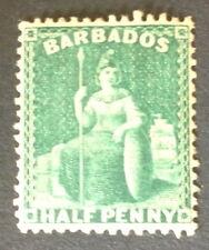 Timbre Barbade, n°1, 1/2 penny vert, xx, TBC, cote 130e.