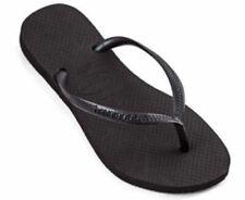 Havaianas Slim Black Brazil Women's Classic Solid Flip Flops All Sizes