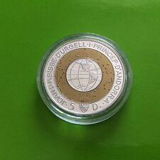 1 pièce de 5 diners Andorre 1999 en argent et laiton Joan D. M. Bisbe D'Urgell