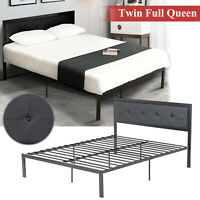 Twin Full Queen Size PU Leather Platform Bed Frame & Slats Upholstered Headboard