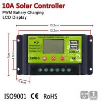 Intelligent 10A PWM Solar Panel Charge Controller Regulator LCD 12V 24V Auto ZH