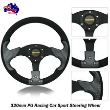 NEW Black Carbon Style Sport 320mm PU Steering Wheel with Horn Button