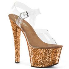 "7"" Clear Silver Glitter Platform Stripper Heels GoGo Dancer Shoes size 7 8 9 10"
