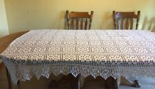 Vintage Hand Crocheted Bedspread Coverlet Ivory