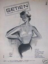 PUBLICITÉ 1956 GETIEN LA MARQUE DU SOUTIEN GORGE RÉPUTÉE - ADVERTISING