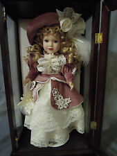 "Camellia Garden 16"" Porcelain Doll In Wood And Glass Cabinet - 1999"