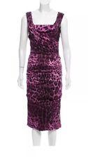DOLCE & GABBANA Ruched silk Purple Leopard Dress 42 = USA 6