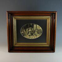 Vintage French Silk Stevengraph Woven Picture of a Dance Scene, custom framed