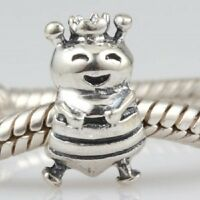 BUMBLE BEE CROWN QUEEN 925 Sterling Silver Charm Bead Fits European Bracelet