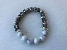 Howlite marble look stone beads facet glass beaded diamante stretchy bracelet