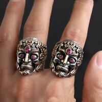 Cool Men Stainless Steel Ring Gothic Punk Skull Crystal Zircon Eye Biker Jewelry