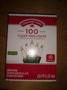 NIB Holiday Time 100 Clear Mini Christmas Wedding Holiday Lights