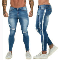 GINGTTO Mens Jeans Ripped Slim Fit Skinny Stretch Distressed Frayed Denim Pant