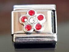 July Birthstone Flower Italian Charm Bracelet  Link Charms