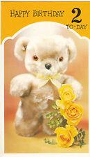 Vintage Happy 2nd Birthday Teddy Bear 2 Years Old 1970's Greeting Card