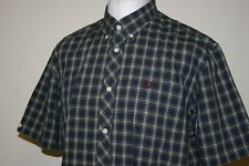 Fred Perry French Navy / Green / Red Tartan Check Shirt Size XL RARE Mod Top