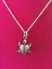 Charm Necklace (Silvertone) - Turtle (Large)