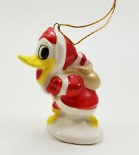 Santa Donald Duck Vintage Walt Disney Productions Ceramic Christmas Ornament