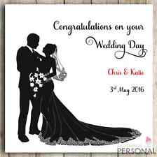 Personalised Handmade Wedding Day Anniversary Mr & Mrs Bride Groom Congrats Card