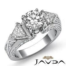2.5ct Round Trillion Diamond Engagement 3 Stone Ring GIA F VS1 14k White Gold