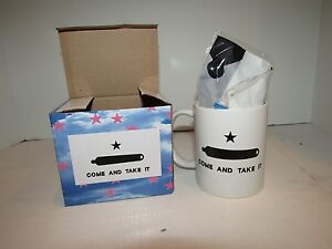 12oz Texas Gonzales Gonzalez Come and take It Ceramic Mug w/ 12x18 Gonzales Flag