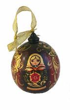 Boule de Noel en bois peint - Décoration de Noël - Peinte par Strakhova
