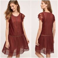 FLOREAT SWEETWATER ANTHROPOLOGIE GARNET DROP WAIST LACE DRESS 6 NWOT
