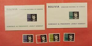 1968 BOLIVIA JFK SET + S/S MNH