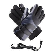 Electric USB Leather Heated Gloves Winter Warmer For Riding Outdoor Skiing US