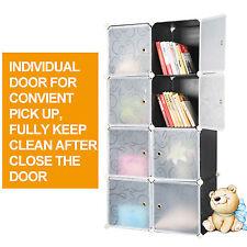 DIY Interlocking 8 Cube Storage Rack Organizer Stand Bookcase w/ Metal Grid Base