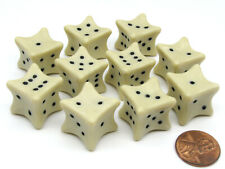 Pack of 10 D6 6-Sided 18mm Bone Dice - Roll Dem Bones RPG D&D Dice