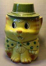 Vintage Mid-Century Ceramic Cat Cookie Jar Yellow With Green Hat Cute Large +